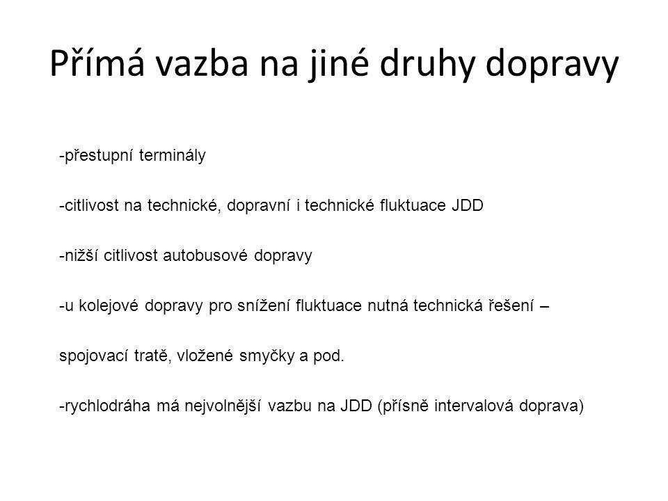 Přímá vazba na jiné druhy dopravy -přestupní terminály -citlivost na technické, dopravní i technické fluktuace JDD -nižší citlivost autobusové dopravy