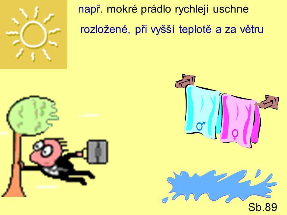 např. mokré prádlo rychleji uschne rozložené, při vyšší teplotě a za větru Sb.89