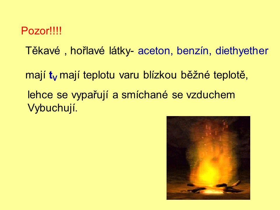 Pozor!!!! Těkavé, hořlavé látky- aceton, benzín, diethyether mají t V mají teplotu varu blízkou běžné teplotě, lehce se vypařují a smíchané se vzduche