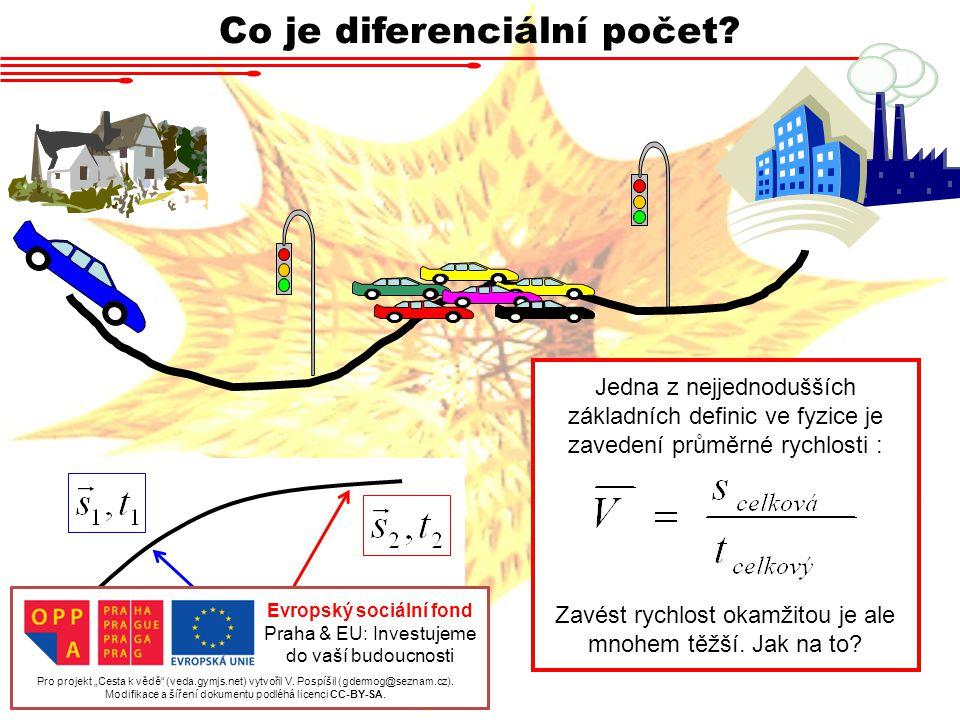 Co je diferenciální počet? Jedna z nejjednodušších základních definic ve fyzice je zavedení průměrné rychlosti : Zavést rychlost okamžitou je ale mnoh