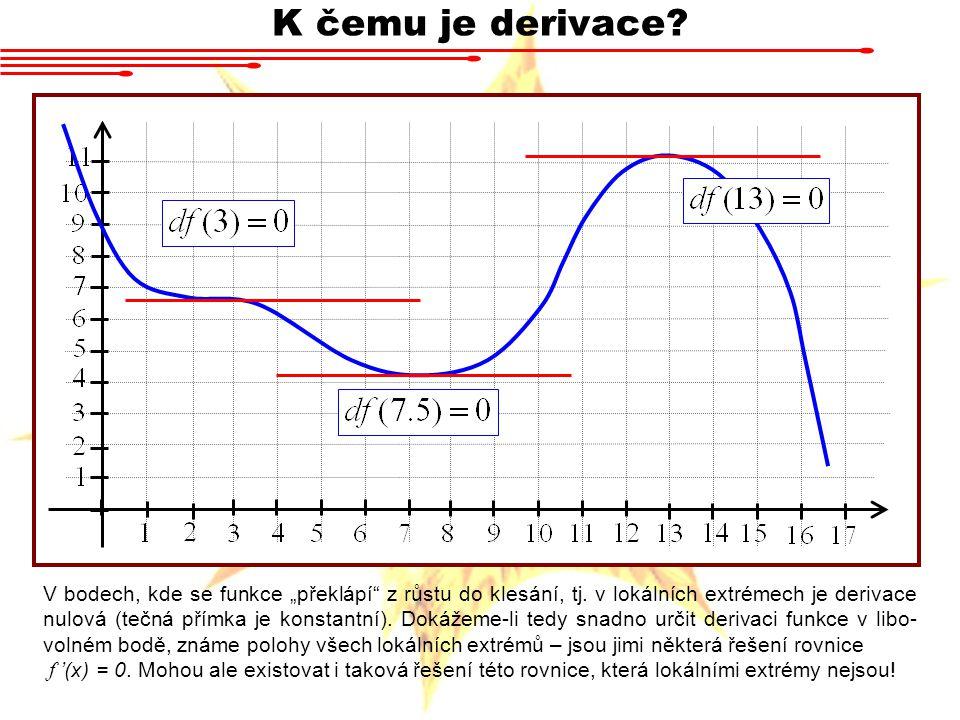 """K čemu je derivace? V bodech, kde se funkce """"překlápí"""" z růstu do klesání, tj. v lokálních extrémech je derivace nulová (tečná přímka je konstantní)."""