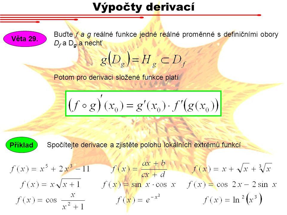 Výpočty derivací Věta 29. Buďte f a g reálné funkce jedné reálné proměnné s definičními obory D f a D g a nechť Potom pro derivaci složené funkce plat