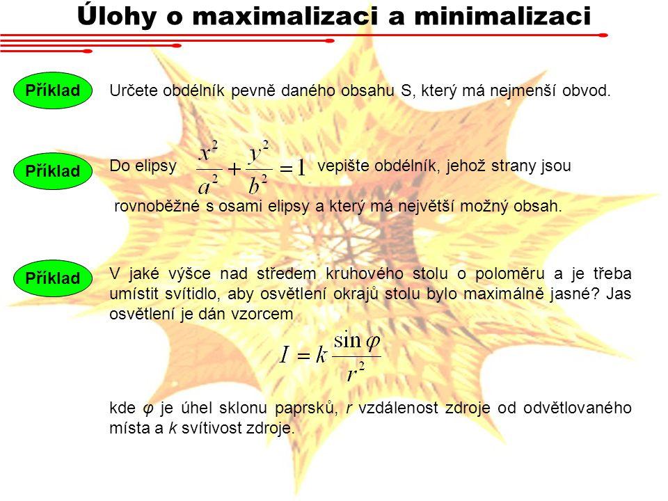 Úlohy o maximalizaci a minimalizaci Určete obdélník pevně daného obsahu S, který má nejmenší obvod. Příklad Do elipsy vepište obdélník, jehož strany j