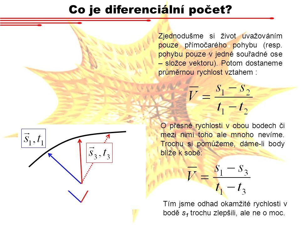 Co je diferenciální počet? Zjednodušme si život uvažováním pouze přímočarého pohybu (resp. pohybu pouze v jedné souřadné ose – složce vektoru). Potom
