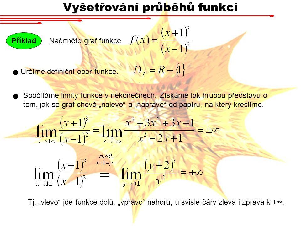 Vyšetřování průběhů funkcí Načrtněte graf funkce Příklad Určíme definiční obor funkce. Spočítáme limity funkce v nekonečnech. Získáme tak hrubou předs