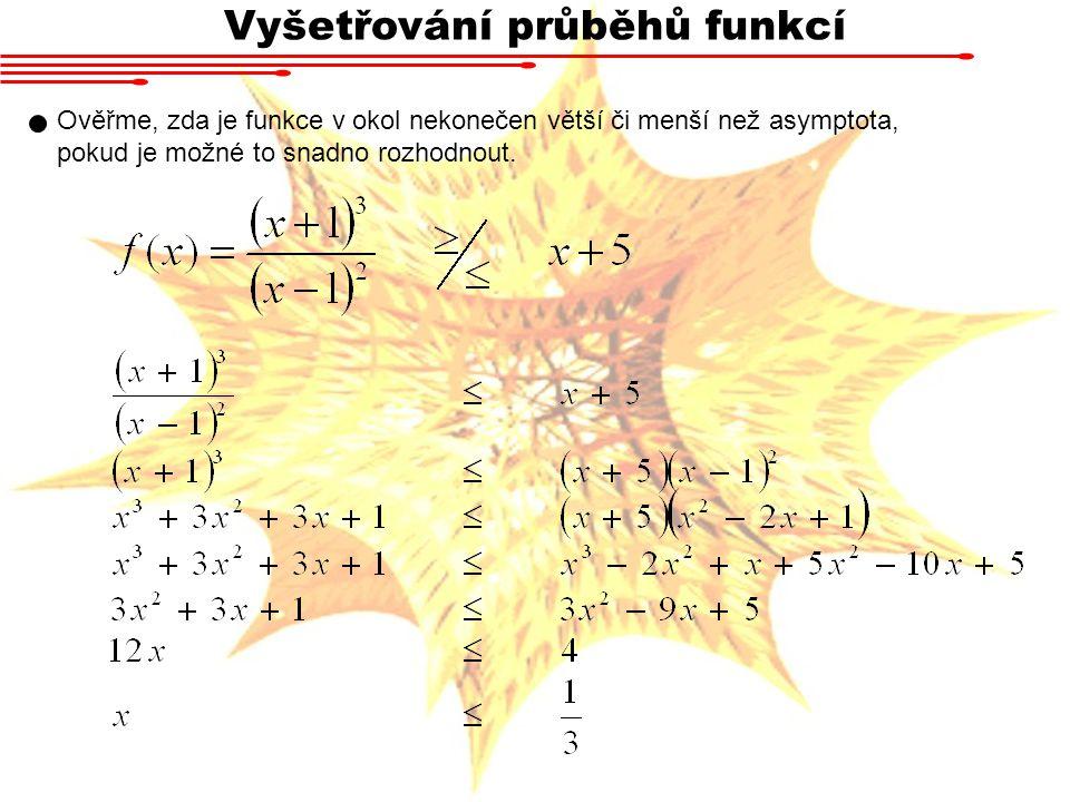 Vyšetřování průběhů funkcí Ověřme, zda je funkce v okol nekonečen větší či menší než asymptota, pokud je možné to snadno rozhodnout.