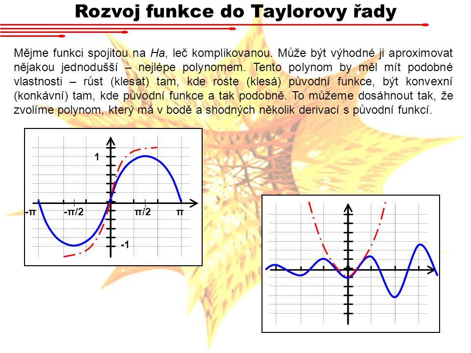Rozvoj funkce do Taylorovy řady Mějme funkci spojitou na Ha, leč komplikovanou. Může být výhodné ji aproximovat nějakou jednodušší – nejlépe polynomem