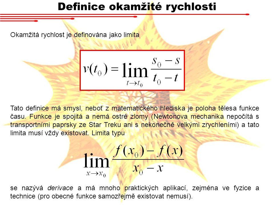 Definice okamžité rychlosti Okamžitá rychlost je definována jako limita Tato definice má smysl, neboť z matematického hlediska je poloha tělesa funkce