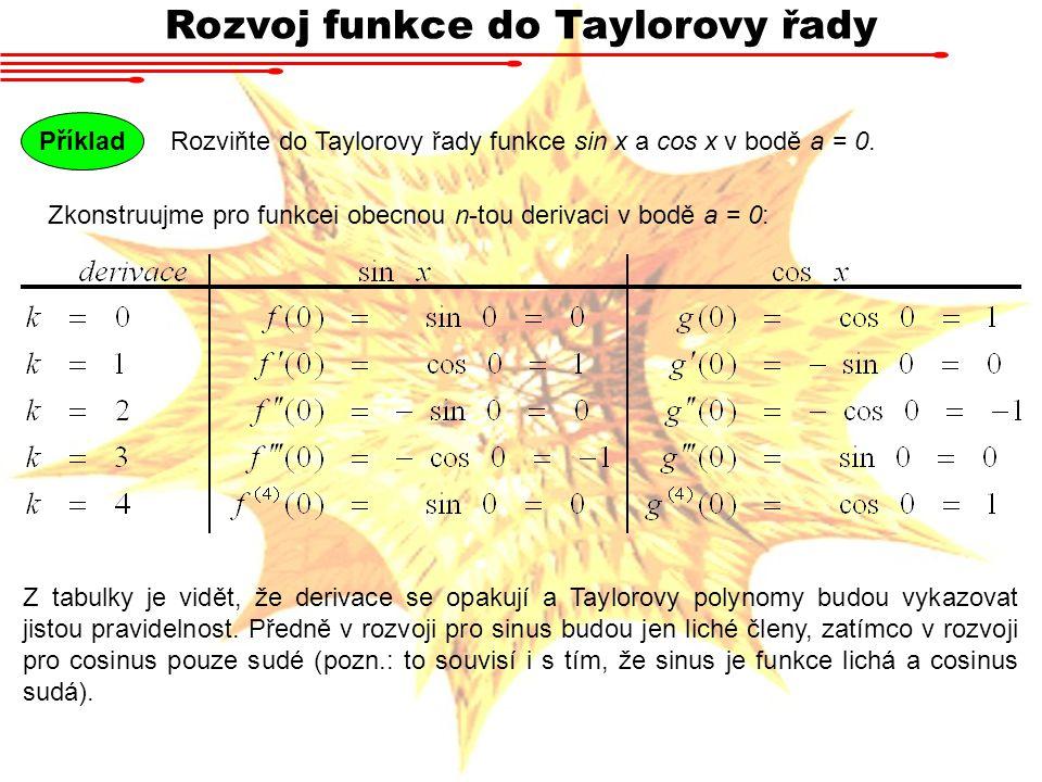 Rozvoj funkce do Taylorovy řady Rozviňte do Taylorovy řady funkce sin x a cos x v bodě a = 0. Příklad Zkonstruujme pro funkcei obecnou n-tou derivaci