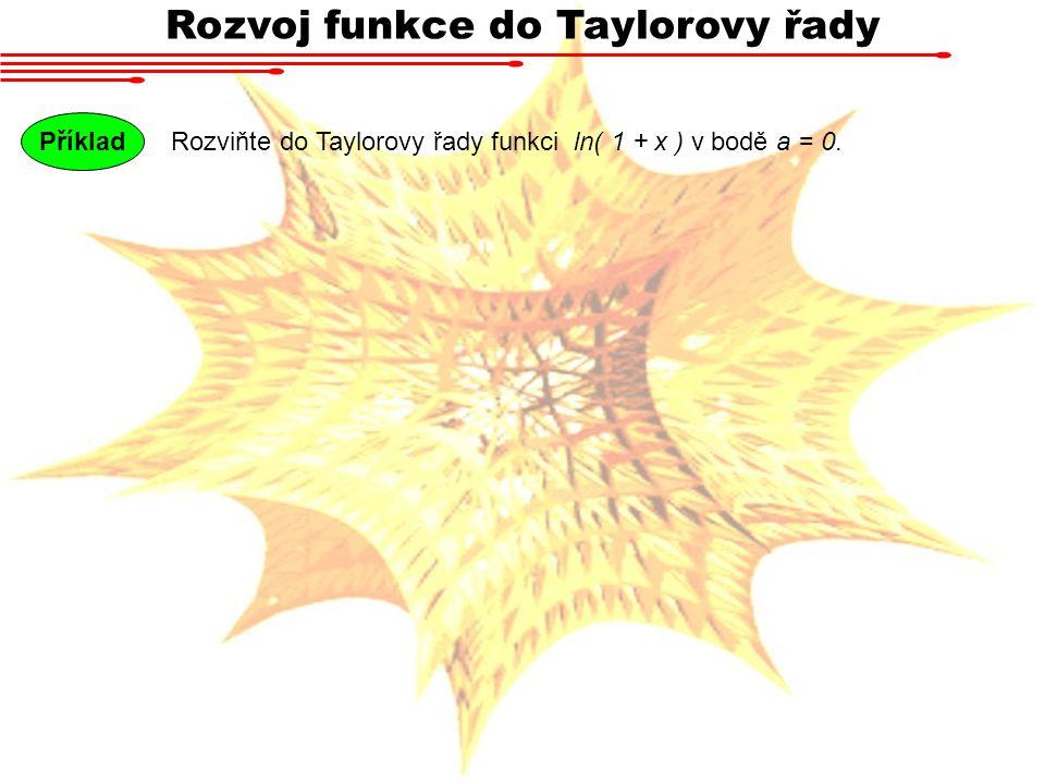 Rozviňte do Taylorovy řady funkci ln( 1 + x ) v bodě a = 0. Příklad