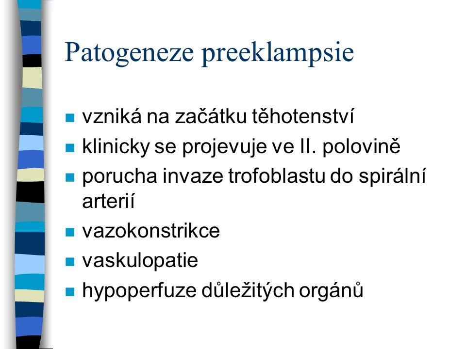 Patogeneze preeklampsie n Ledviny –endotelióza –poškození glomerulů –paravazální hemorrhagie –proteinurie –pokles glomerulární filtrace –selhání ledvin
