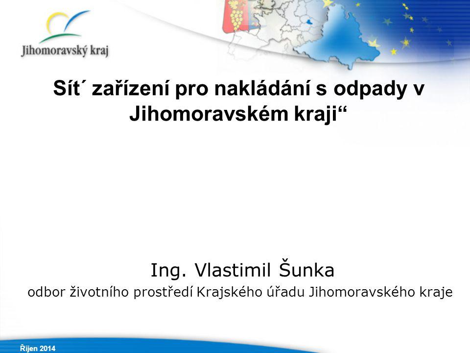 Říjen 2014 Sít´ zařízení pro nakládání s odpady v Jihomoravském kraji Ing.