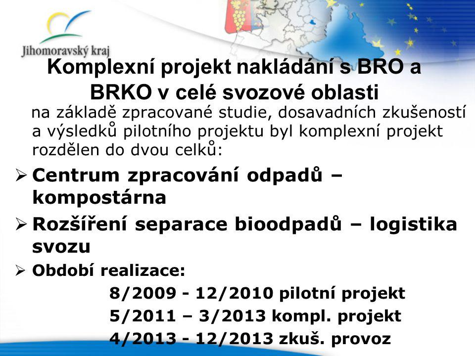 Komplexní projekt nakládání s BRO a BRKO v celé svozové oblasti na základě zpracované studie, dosavadních zkušeností a výsledků pilotního projektu byl komplexní projekt rozdělen do dvou celků:  Centrum zpracování odpadů – kompostárna  Rozšíření separace bioodpadů – logistika svozu  Období realizace: 8/2009 - 12/2010 pilotní projekt 5/2011 – 3/2013 kompl.