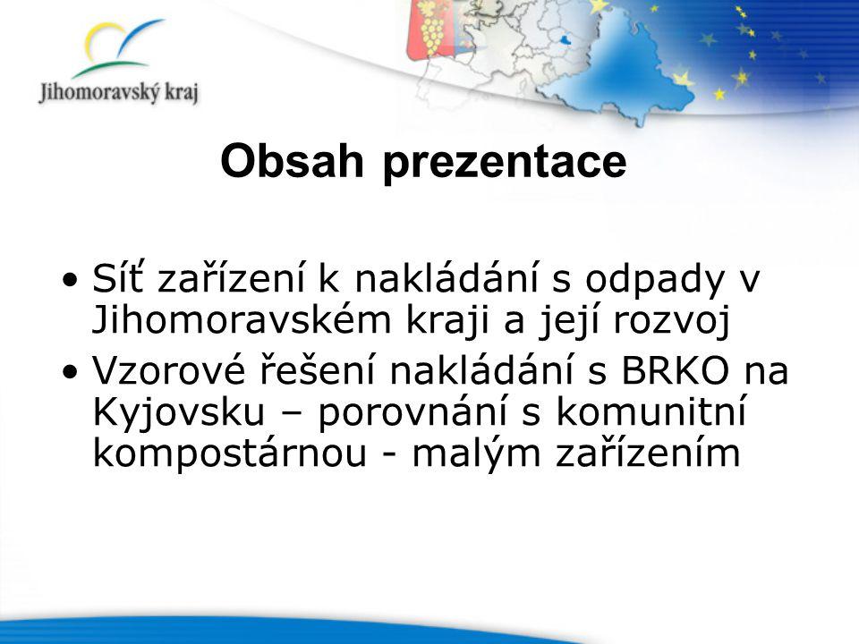 Obsah prezentace Síť zařízení k nakládání s odpady v Jihomoravském kraji a její rozvoj Vzorové řešení nakládání s BRKO na Kyjovsku – porovnání s komunitní kompostárnou - malým zařízením