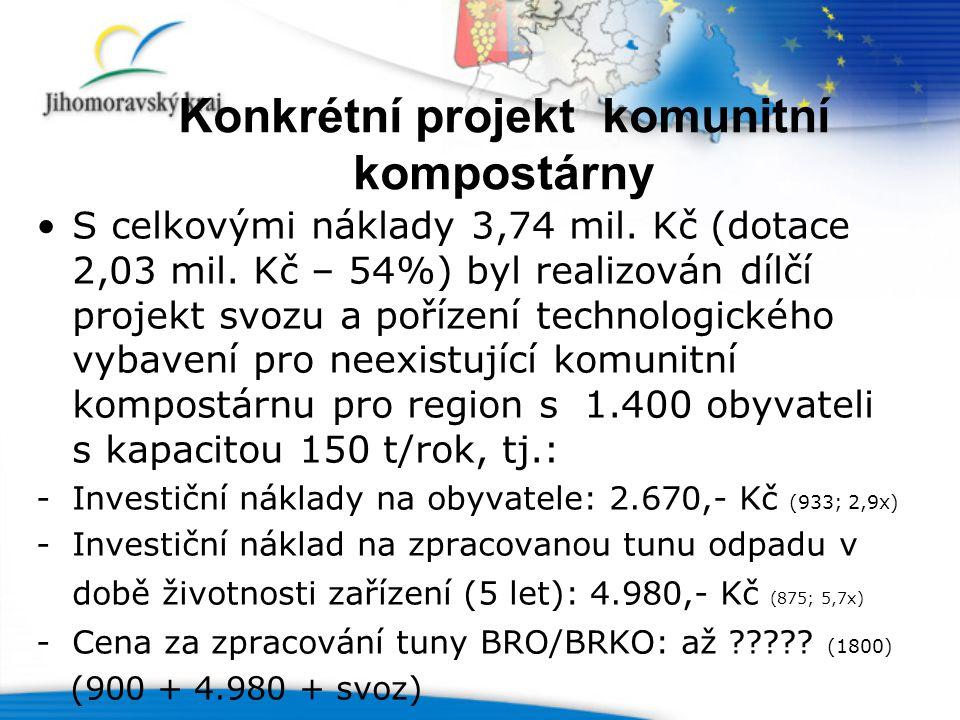 Konkrétní projekt komunitní kompostárny S celkovými náklady 3,74 mil.