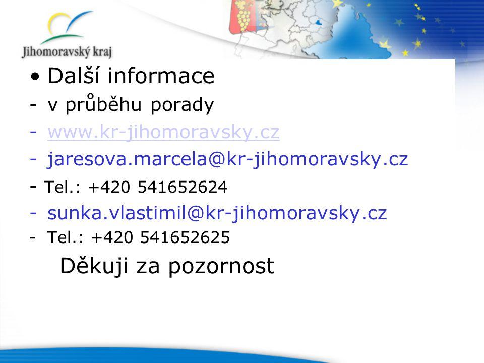 Další informace -v průběhu porady -www.kr-jihomoravsky.czwww.kr-jihomoravsky.cz -jaresova.marcela@kr-jihomoravsky.cz - Tel.: +420 541652624 -sunka.vlastimil@kr-jihomoravsky.cz -Tel.: +420 541652625 Děkuji za pozornost
