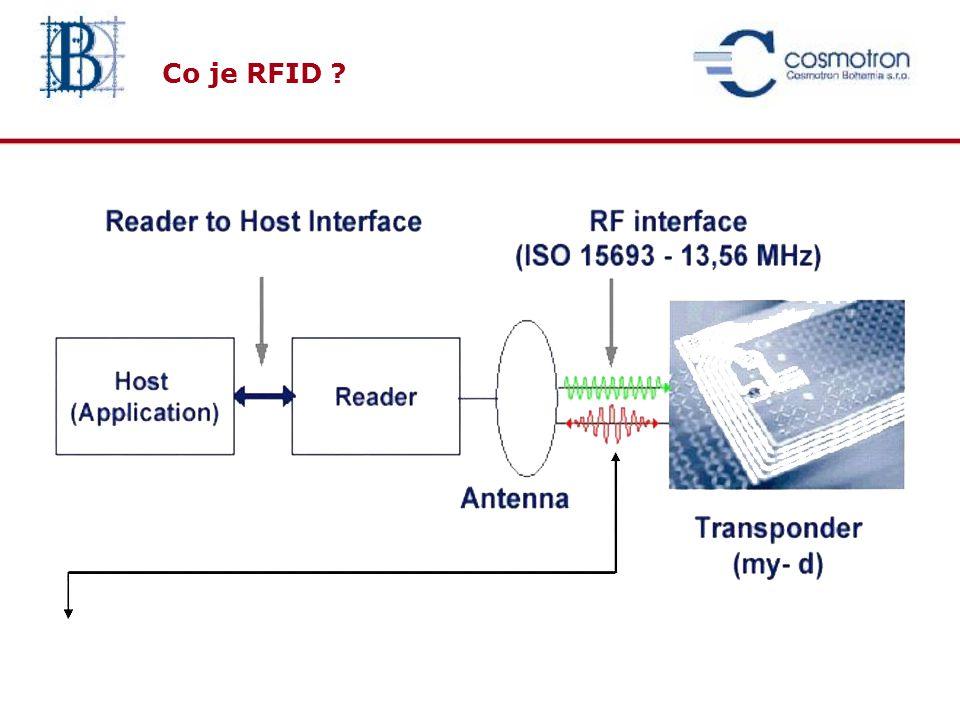 funkčnost cena Lineární čárový kód 2D čárový kód vyšší datová kapacita Inteligentní materiál (Magnetický, Chemický, Nukleární …) bez přímé viditelnosti jako magnetické karty RFID nálepka Inteligentní aplikace, R/W paměť bez přímé viditelnosti,bezkontaktní Simultánní ID, robustní rok 1960 Rok 2000 Od čárového kódu k RFID