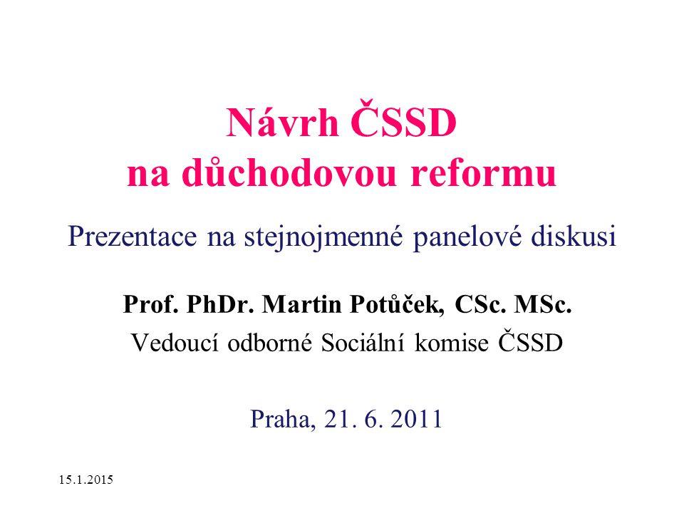 15.1.2015 Návrh ČSSD na důchodovou reformu Prezentace na stejnojmenné panelové diskusi Prof.