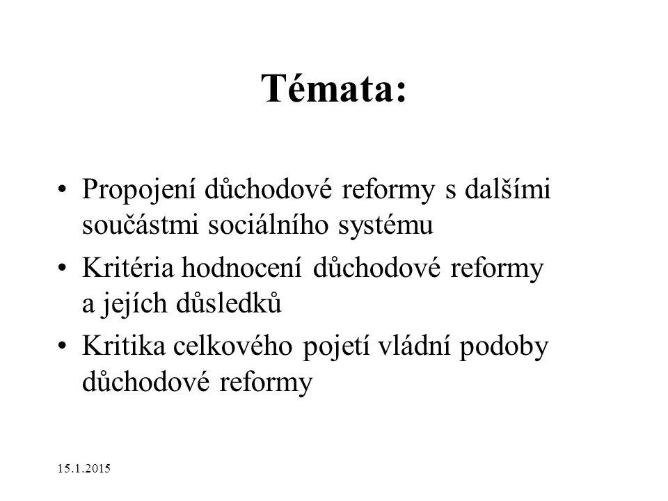Témata: Propojení důchodové reformy s dalšími součástmi sociálního systému Kritéria hodnocení důchodové reformy a jejích důsledků Kritika celkového pojetí vládní podoby důchodové reformy 15.1.2015