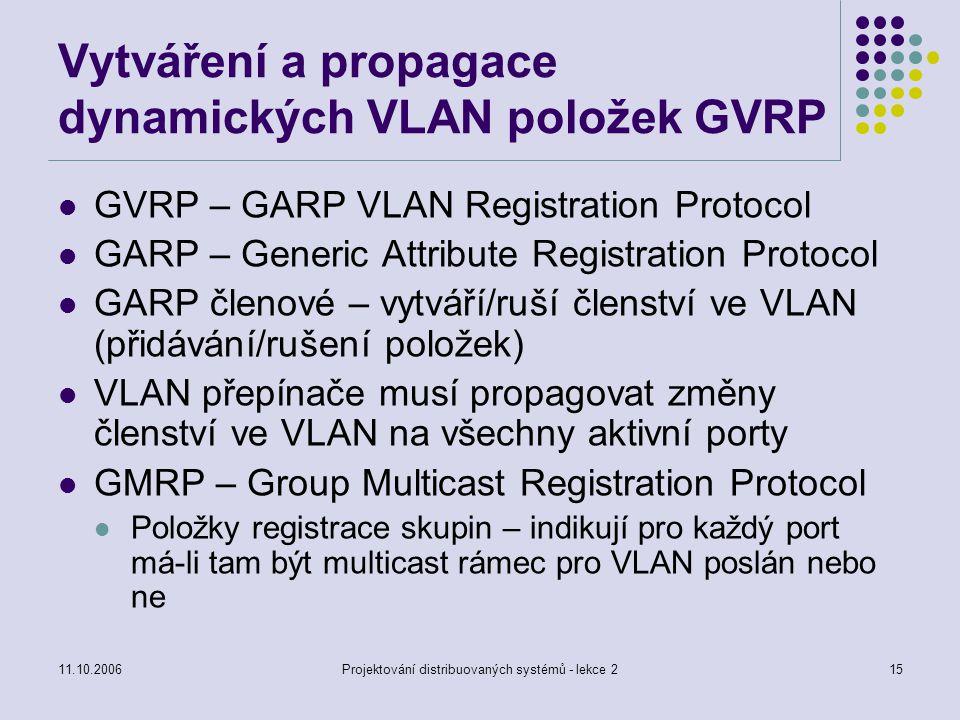 11.10.2006Projektování distribuovaných systémů - lekce 215 Vytváření a propagace dynamických VLAN položek GVRP GVRP – GARP VLAN Registration Protocol GARP – Generic Attribute Registration Protocol GARP členové – vytváří/ruší členství ve VLAN (přidávání/rušení položek) VLAN přepínače musí propagovat změny členství ve VLAN na všechny aktivní porty GMRP – Group Multicast Registration Protocol Položky registrace skupin – indikují pro každý port má-li tam být multicast rámec pro VLAN poslán nebo ne