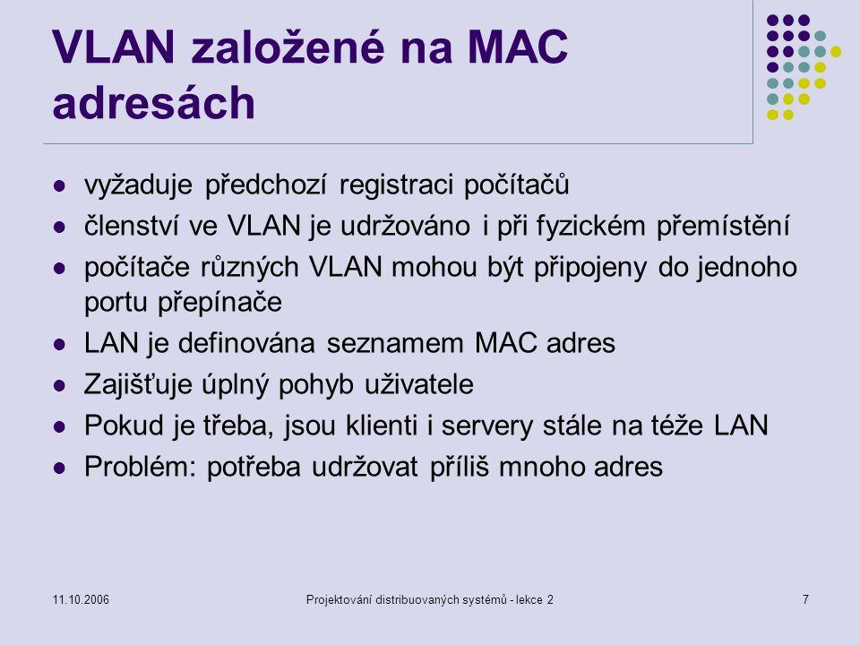 11.10.2006Projektování distribuovaných systémů - lekce 27 VLAN založené na MAC adresách vyžaduje předchozí registraci počítačů členství ve VLAN je udržováno i při fyzickém přemístění počítače různých VLAN mohou být připojeny do jednoho portu přepínače LAN je definována seznamem MAC adres Zajišťuje úplný pohyb uživatele Pokud je třeba, jsou klienti i servery stále na téže LAN Problém: potřeba udržovat příliš mnoho adres