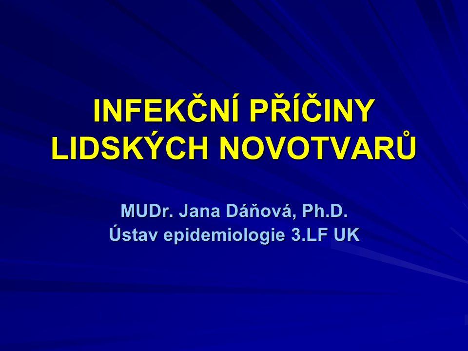 INFEKČNÍ PŘÍČINY LIDSKÝCH NOVOTVARŮ MUDr. Jana Dáňová, Ph.D. Ústav epidemiologie 3.LF UK