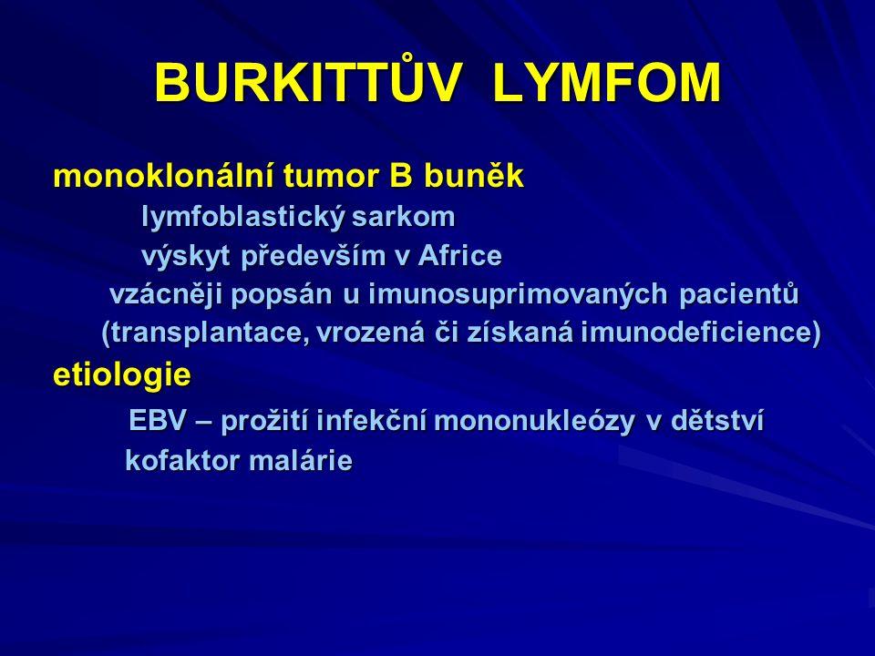 BURKITTŮV LYMFOM monoklonální tumor B buněk lymfoblastický sarkom lymfoblastický sarkom výskyt především v Africe výskyt především v Africe vzácněji popsán u imunosuprimovaných pacientů vzácněji popsán u imunosuprimovaných pacientů (transplantace, vrozená či získaná imunodeficience) (transplantace, vrozená či získaná imunodeficience)etiologie EBV – prožití infekční mononukleózy v dětství EBV – prožití infekční mononukleózy v dětství kofaktor malárie kofaktor malárie