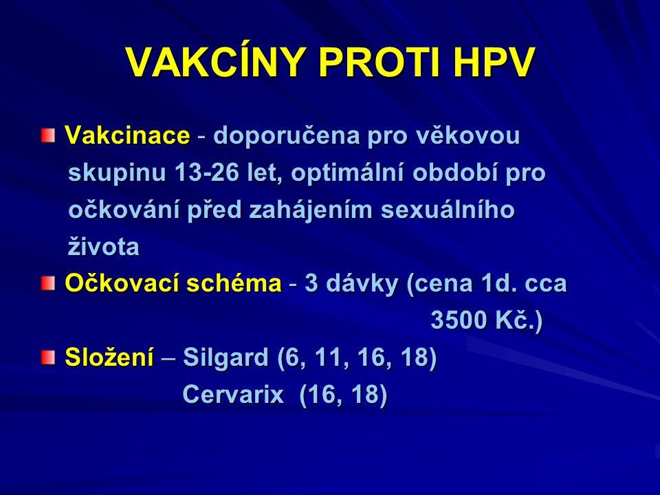 VAKCÍNY PROTI HPV Vakcinace - doporučena pro věkovou skupinu 13-26 let, optimální období pro skupinu 13-26 let, optimální období pro očkování před zahájením sexuálního očkování před zahájením sexuálního života života Očkovací schéma - 3 dávky (cena 1d.
