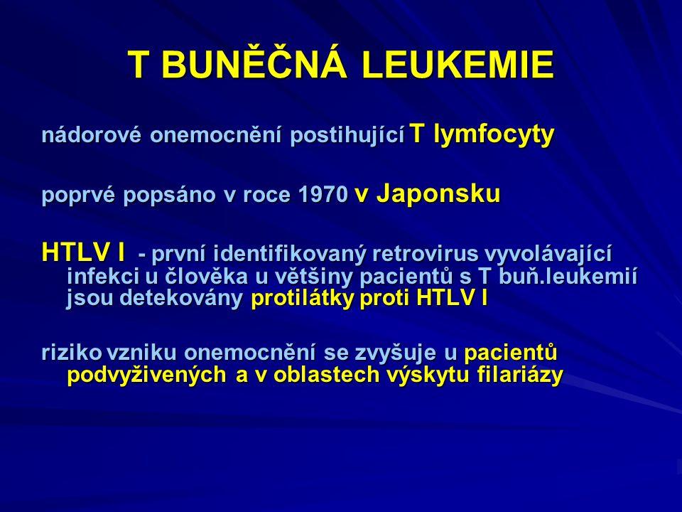 T BUNĚČNÁ LEUKEMIE nádorové onemocnění postihující T lymfocyty poprvé popsáno v roce 1970 v Japonsku HTLV I - první identifikovaný retrovirus vyvolávající infekci u člověka u většiny pacientů s T buň.leukemií jsou detekovány protilátky proti HTLV I riziko vzniku onemocnění se zvyšuje u pacientů podvyživených a v oblastech výskytu filariázy