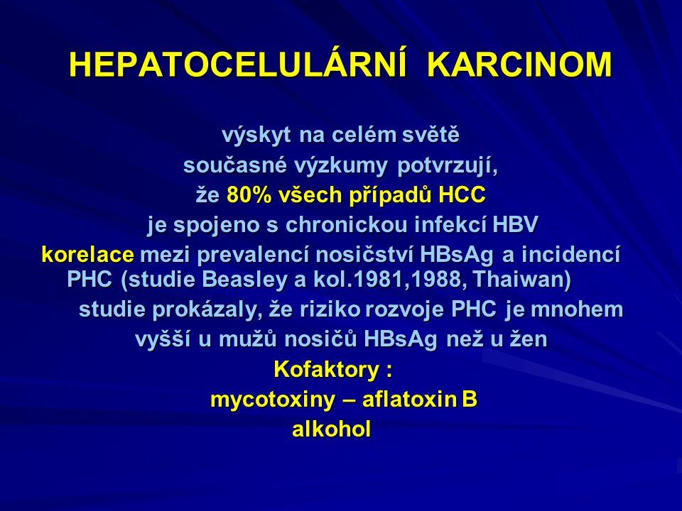 HEPATOCELULÁRNÍ KARCINOM výskyt na celém světě současné výzkumy potvrzují, že 80% všech případů HCC je spojeno s chronickou infekcí HBV je spojeno s chronickou infekcí HBV korelace mezi prevalencí nosičství HBsAg a incidencí PHC (studie Beasley a kol.1981,1988, Thaiwan) studie prokázaly, že riziko rozvoje PHC je mnohem studie prokázaly, že riziko rozvoje PHC je mnohem vyšší u mužů nosičů HBsAg než u žen vyšší u mužů nosičů HBsAg než u žen Kofaktory : Kofaktory : mycotoxiny – aflatoxin B mycotoxiny – aflatoxin B alkohol alkohol