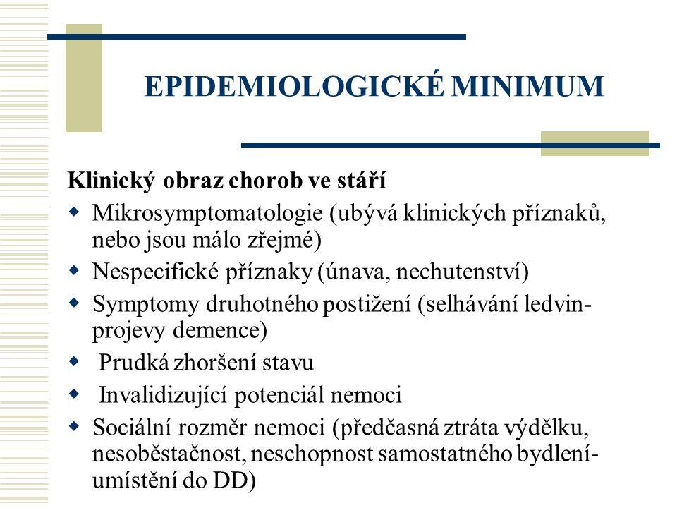 EPIDEMIOLOGICKÉ MINIMUM Klinický obraz chorob ve stáří  Mikrosymptomatologie (ubývá klinických příznaků, nebo jsou málo zřejmé)  Nespecifické přízna