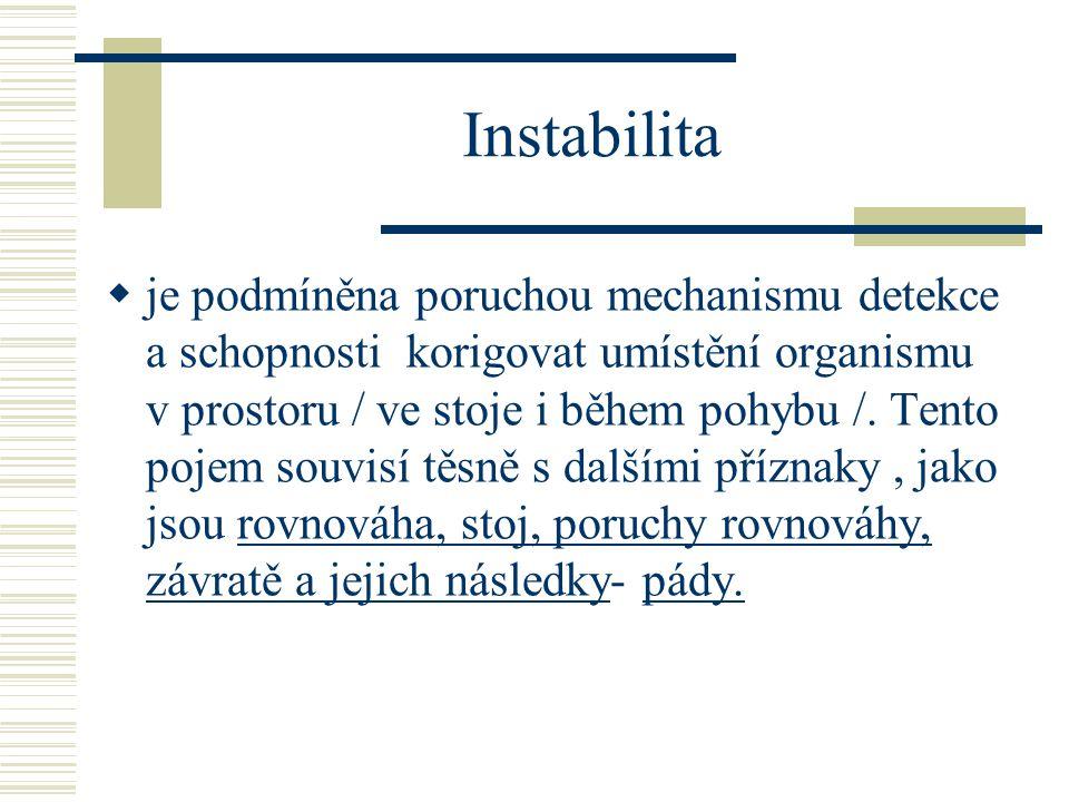 Instabilita  je podmíněna poruchou mechanismu detekce a schopnosti korigovat umístění organismu v prostoru / ve stoje i během pohybu /. Tento pojem s