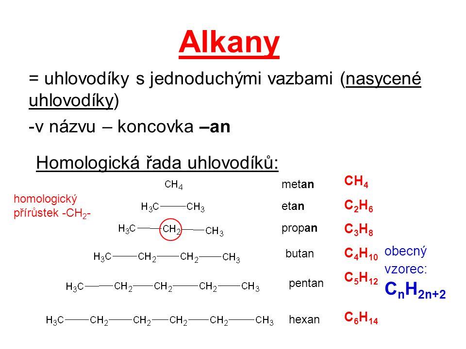 Alkany = uhlovodíky s jednoduchými vazbami (nasycené uhlovodíky) -v názvu – koncovka –an Homologická řada uhlovodíků: metan etan propan butan pentan h
