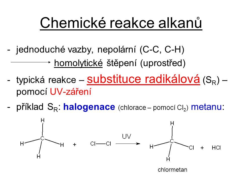 Chemické reakce alkanů -jednoduché vazby, nepolární (C-C, C-H) homolytické štěpení (uprostřed) -typická reakce – substituce radikálová (S R ) – pomocí