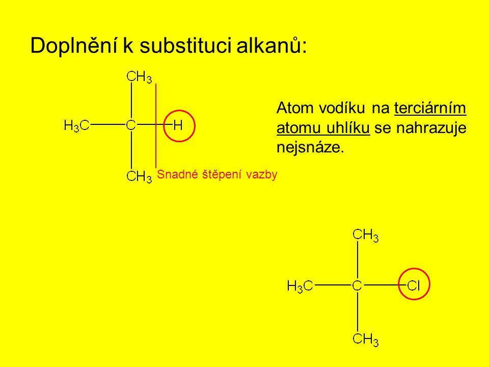 Doplnění k substituci alkanů: Atom vodíku na terciárním atomu uhlíku se nahrazuje nejsnáze. Snadné štěpení vazby