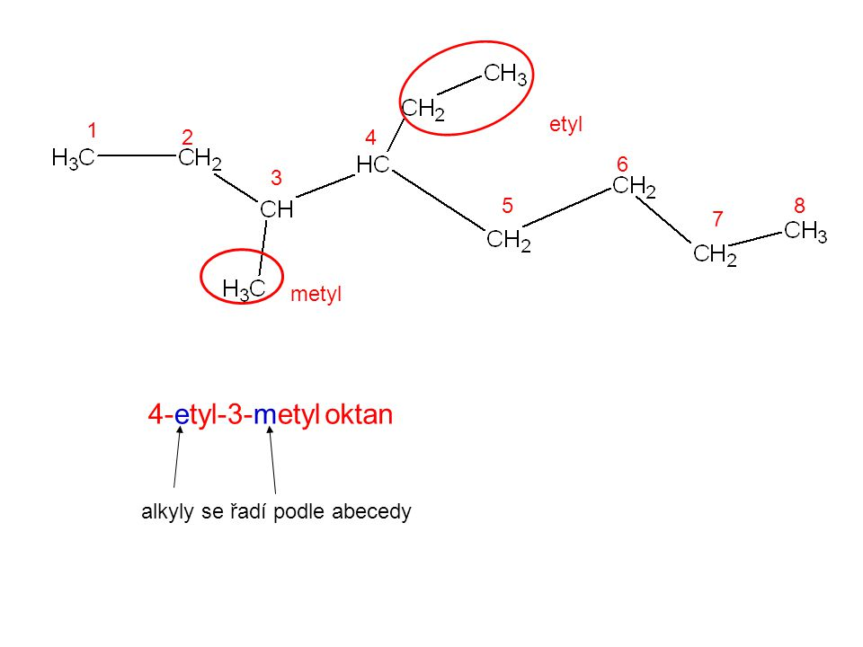 metyl etyl 1 2 3 4 5 6 7 8 oktan4-etyl-3-metyl alkyly se řadí podle abecedy