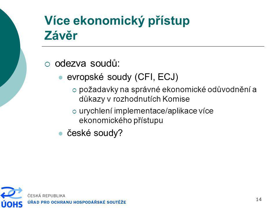 14 Více ekonomický přístup Závěr  odezva soudů: evropské soudy (CFI, ECJ)  požadavky na správné ekonomické odůvodnění a důkazy v rozhodnutích Komise