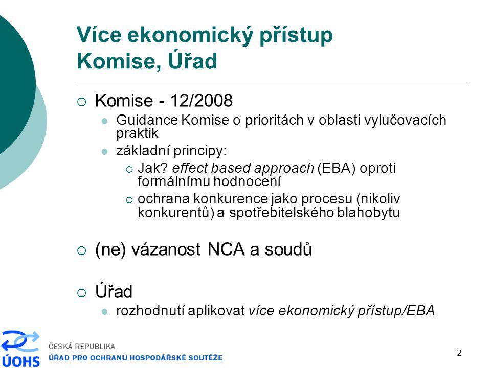 2 Více ekonomický přístup Komise, Úřad  Komise - 12/2008 Guidance Komise o prioritách v oblasti vylučovacích praktik základní principy:  Jak? effect