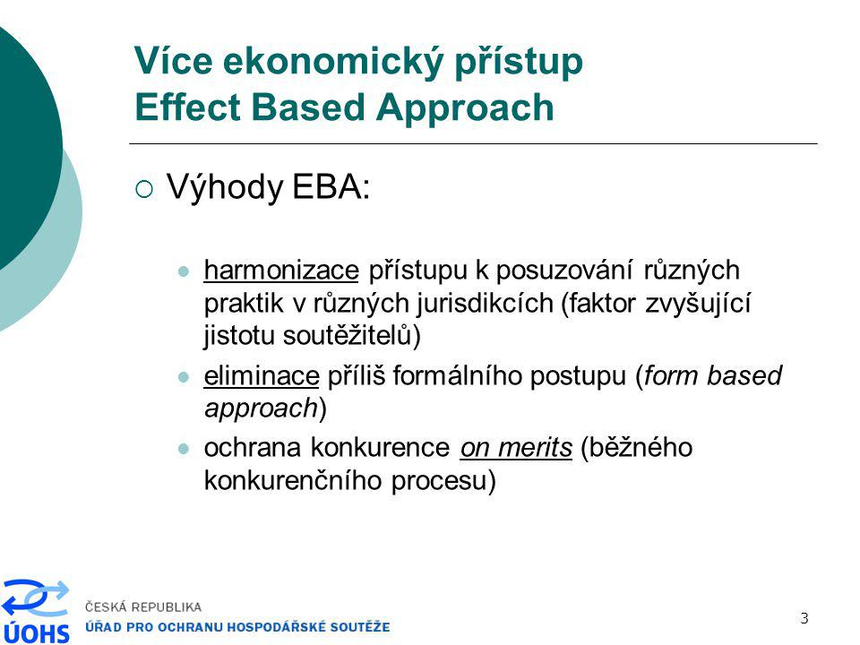 4 Více ekonomický přístup Effect Based Approach  Souvislosti EBA: prioritou je určení dopadu (skutečného, pravděpodobného) na trh a na spotřebitele (teorie újmy) individuální přístup k případům (stejná praktika-různý dopad, různé praktiky-stejný dopad) neexistuje jeden test přes všechny praktiky větší prostor pro možná ospravedlnění potřeba aplikace analytických metod, vyšší náročnost na ekonomická data (více údajů, delší časové řady)