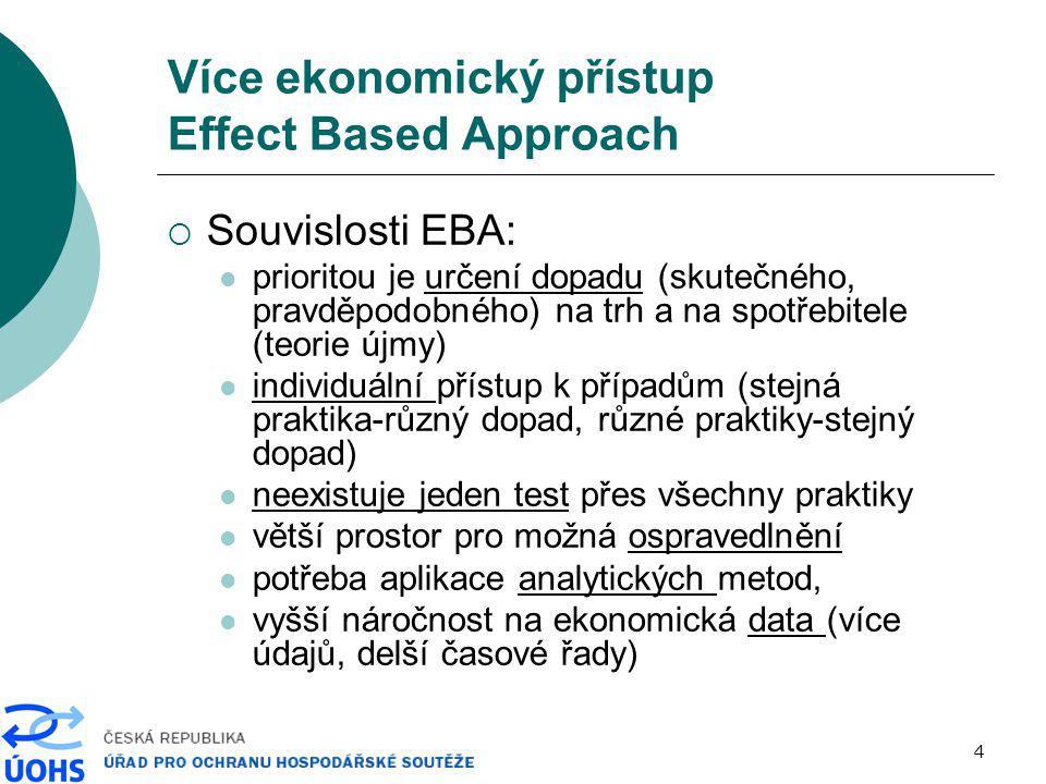 """5 Více ekonomický přístup Effect Based Approach  EBA je koncepční záležitost (změna přístupu): form based approach (""""zaškatulkování praktiky, per se rules)  prodej produktu pod cenou/vázaný prodej/podmíněný rabat je považován za zakázaný  vysoký tržní podíl – indikátor tržní síly effect based approach (ekonomická analýza dopadů, rule of reason)  je dané chování součástí běžného soutěžního procesu."""