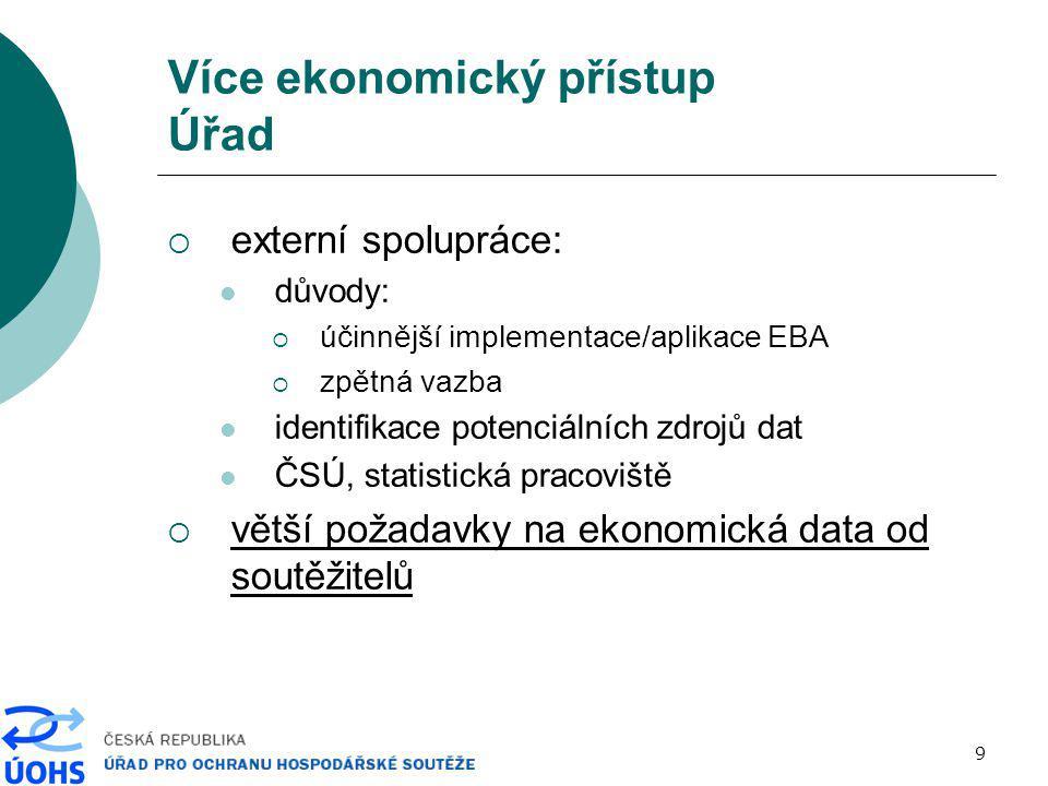 10 Více ekonomický přístup Ekonomická analýza právní problém  ekonomická teorie předpoklady metody data (data request)  výsledky analýzy