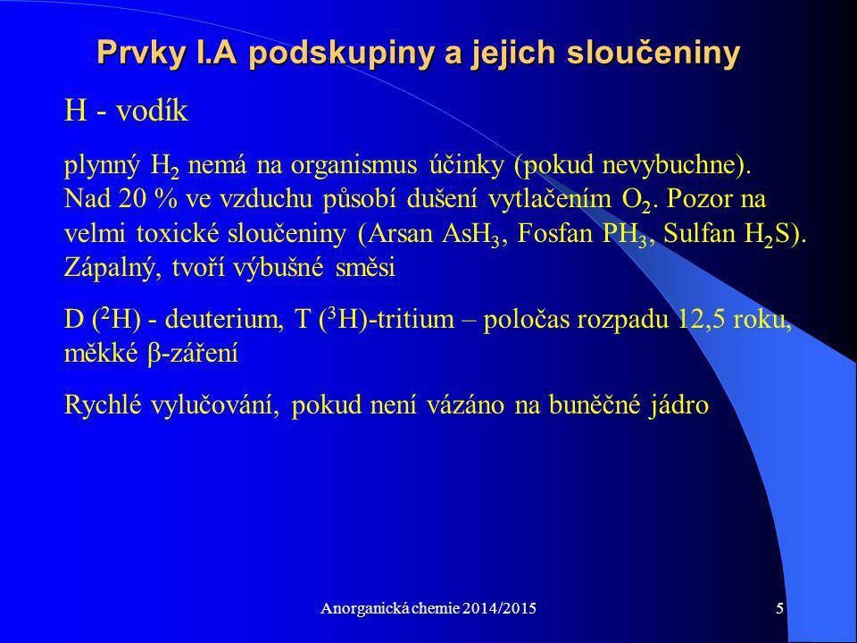 Anorganická chemie 2014/20155 Prvky I.A podskupiny a jejich sloučeniny H - vodík plynný H 2 nemá na organismus účinky (pokud nevybuchne). Nad 20 % ve