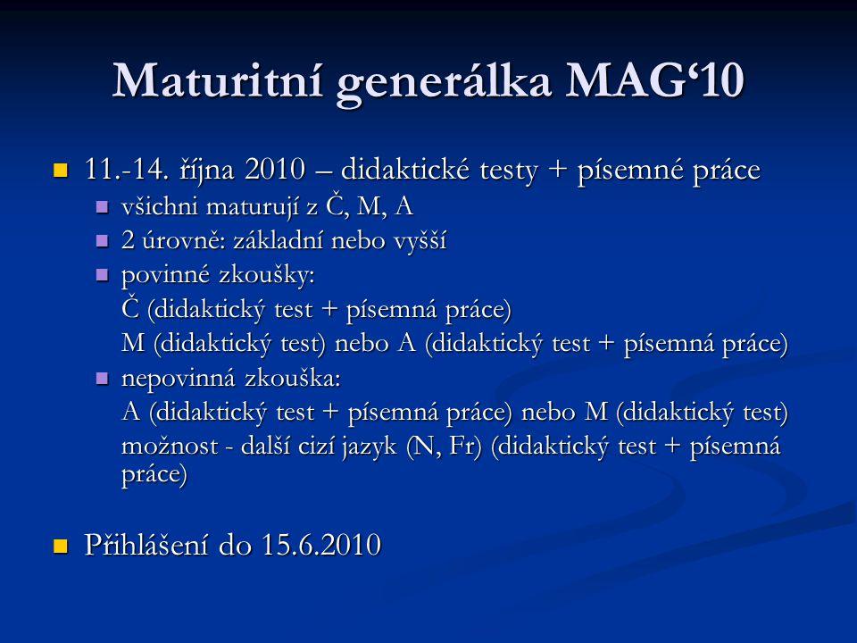 Maturitní generálka MAG'10 11.-14. října 2010 – didaktické testy + písemné práce 11.-14.