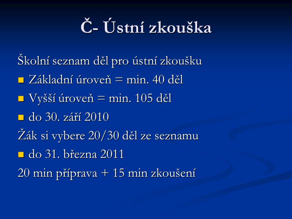 Časový harmonogram 11.-14.10.2010 – maturitní generálka (MAG'10) 11.-14.10.2010 – maturitní generálka (MAG'10) 15.11.2010 – přihlášky k MZ 15.11.2010 – přihlášky k MZ 15.-29.4.2011 – písemné a praktické zkoušky 15.-29.4.2011 – písemné a praktické zkoušky 2.-27.5.2011 – ústní zkoušky 2.-27.5.2011 – ústní zkoušky (společná i profilová část) 30.5.-7.6.2011 – písemné zkoušky společné části 30.5.-7.6.2011 – písemné zkoušky společné části 20.6.2011 – vydávání maturitních vysvědčení a protokolů o společné části MZ 20.6.2011 – vydávání maturitních vysvědčení a protokolů o společné části MZ