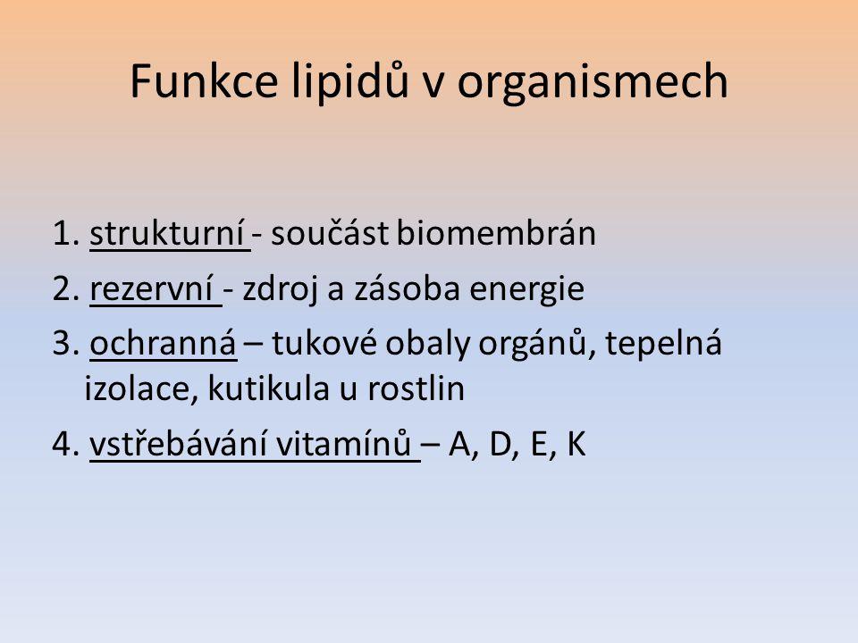 Funkce lipidů v organismech 1. strukturní - součást biomembrán 2. rezervní - zdroj a zásoba energie 3. ochranná – tukové obaly orgánů, tepelná izolace