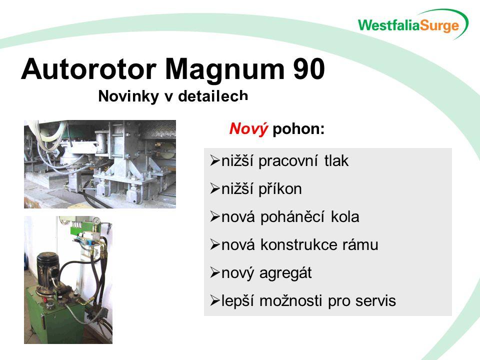 Autorotor Magnum 90 Novinky v detailech Nový pohon:  nižší pracovní tlak  nižší příkon  nová poháněcí kola  nová konstrukce rámu  nový agregát  lepší možnosti pro servis