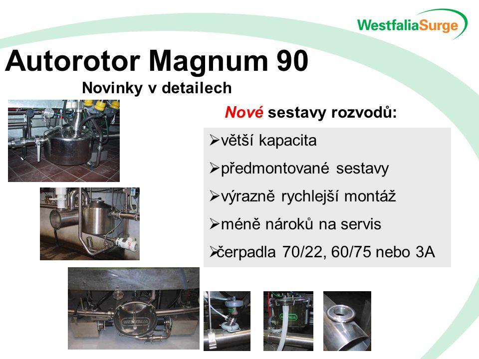 Autorotor Magnum 90 Novinky v detailech Nové sestavy rozvodů:  větší kapacita  předmontované sestavy  výrazně rychlejší montáž  méně nároků na servis  čerpadla 70/22, 60/75 nebo 3A