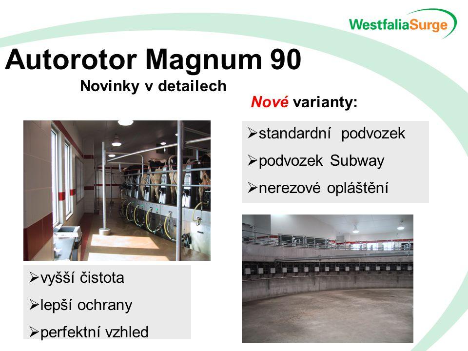 Autorotor Magnum 90 Novinky v detailech Nové varianty:  standardní podvozek  podvozek Subway  nerezové opláštění  vyšší čistota  lepší ochrany  perfektní vzhled
