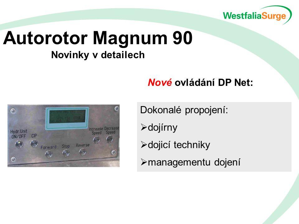 Autorotor Magnum 90 Novinky v detailech Nové ovládání DP Net: Dokonalé propojení:  dojírny  dojicí techniky  managementu dojení