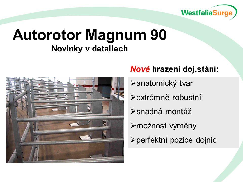 Autorotor Magnum 90 Novinky v detailech Nové hrazení doj.stání:  anatomický tvar  extrémně robustní  snadná montáž  možnost výměny  perfektní pozice dojnic